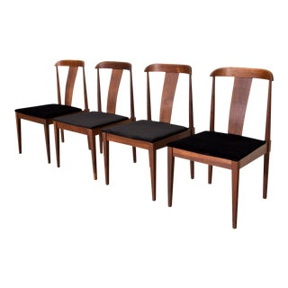 Mid Century Solid Walnut Dillingham Dining Chairs - Set of 4