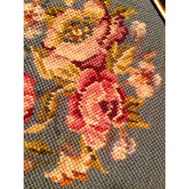 Image of Antique Floral Needlepoint in Wood Frame, 1948