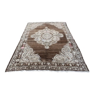 Antique Oversize Floor Turkish Wool Oushak Rug - 6′5″ × 9′10″