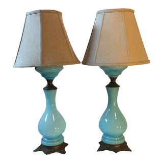 Antique French Glass Lamps - A Pair