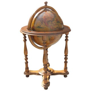 French Mid Century Modern World Globe Bar