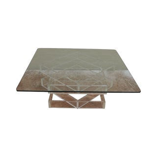70's Modern Lucite Base Glass top Cocktail Table