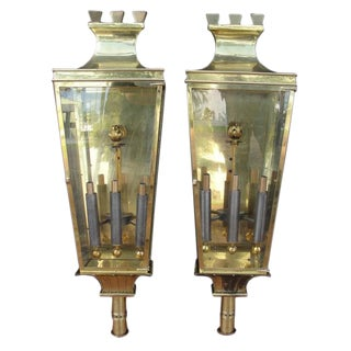 Pair of Large Brass Lantern Sconces