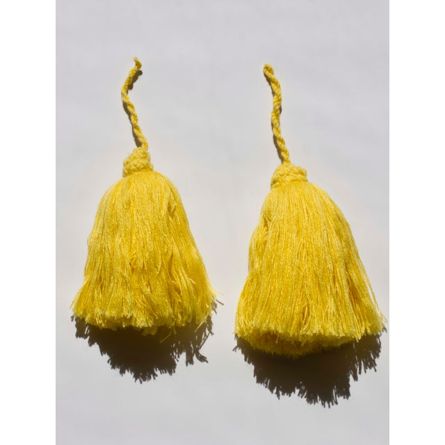 Image of Yellow Moroccan Yarn Tassels - A Pair