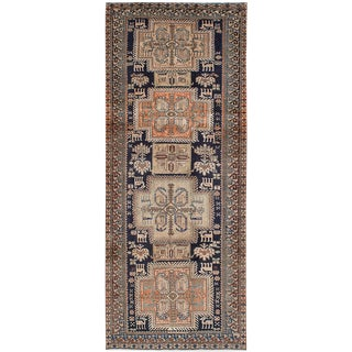Navy & Peach Persian Runner - 4′3″ × 10′7″