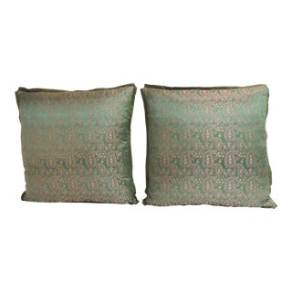 Pair of Green Vintage Indian Embroidery Paisley Decorative Pillows