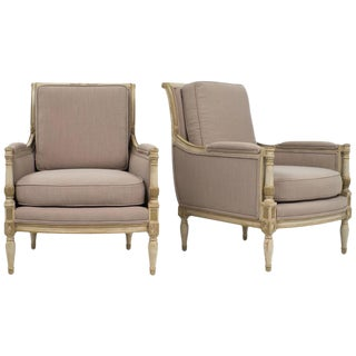 19th Century French Directoire Style Bergères- A Pair