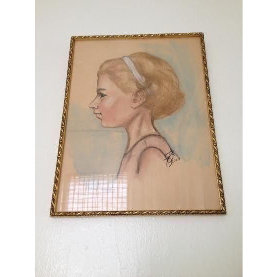 Image of Vintage Sketch of Young Girl