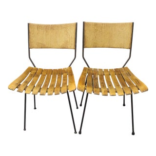 Arthur Umanoff Mid-Century Slatted Wood Dining Chairs - A Pair