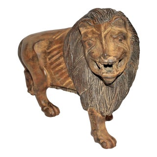 19th Century Hand-Carved and Painted Folky Wooden Lion