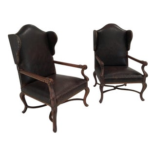 Paisley Studded Wingback Leather Armchairs - Pair