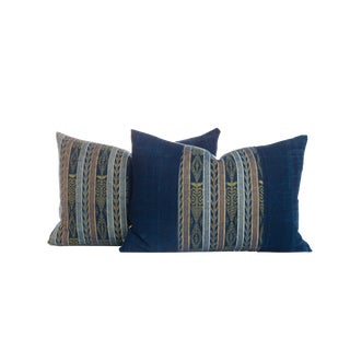 Vintage Ikat Indigo Pillows - A Pair