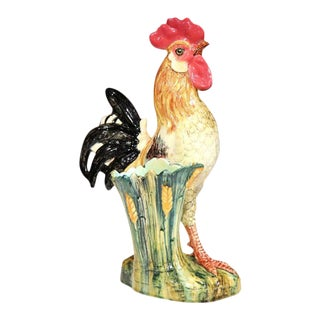 French Hand-Painted Barbotine Rooster Vase