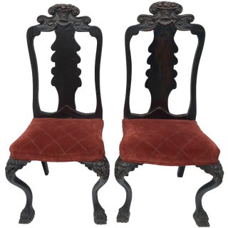 Antique Carved Lion Chairs - A Pair