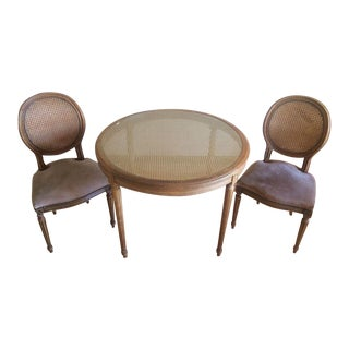 Regency Style Round Cane Back and Upholstered Walnut Side Chairs