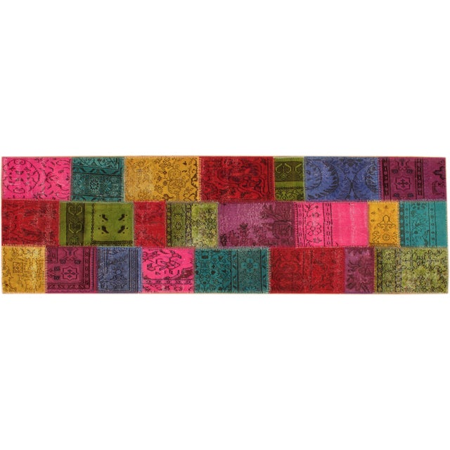 Image of Apadana Floral Patchwork Overdyed Rug - 3′ × 9′11″