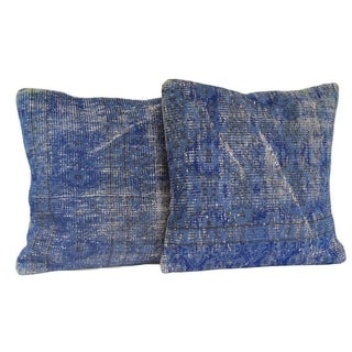 Blue Handmade Over-Dyed Rug Pillow Covers - A Pair