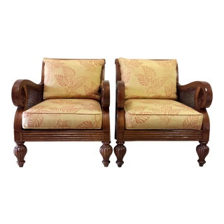 Thomasville Sofa Chairs With Double Cane - A Pair