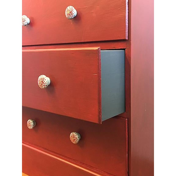 Red Solid Wood With Hand-Painted Knobs Four Drawer Dresser - Image 5 of 5