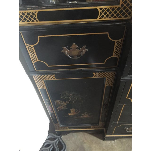 Hand-Painted 60s Buffet and Pull-Out Petite Desk - Image 10 of 10