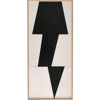 "Jason Trotter Original Acrylic Painting ""Black Jagged Triptych Jet0457"""