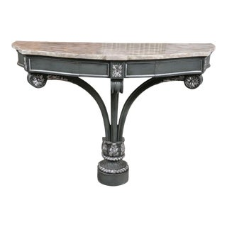 Hollywood Regency Demilune Marble-Top Console
