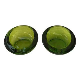 Mid-Century Modern Green Art Glass Ashtrays - A Pair