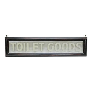 "Vintage Etched Glass ""Toilet Goods"" Sign"