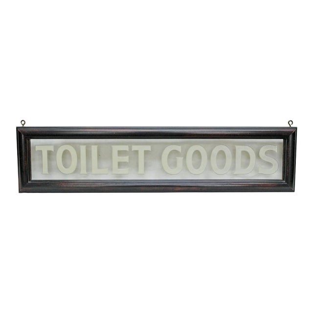 """Image of Vintage Etched Glass """"Toilet Goods"""" Sign"""