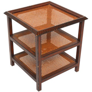 Three Tiered Caned Walnut Side Table