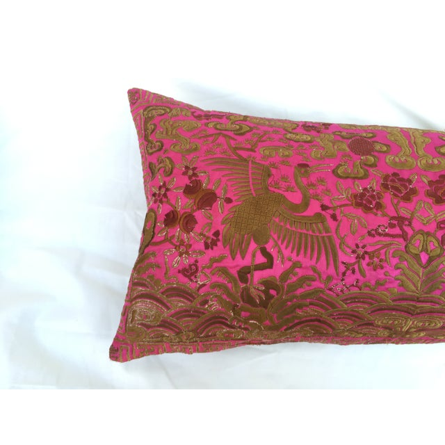Chinoiserie Pink Silk Crane Boudoir Pillow - Image 3 of 7