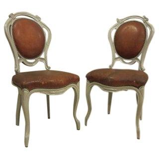 Antique Art Nouveau Wood & Leather Chairs - Pair