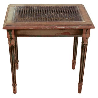 Antique Small French Caned Bench Or Side Table