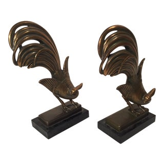 Large Art Deco Spelter Pheasant Bookends