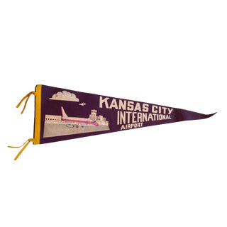 Vintage Kansas City International Airport Felt Flag