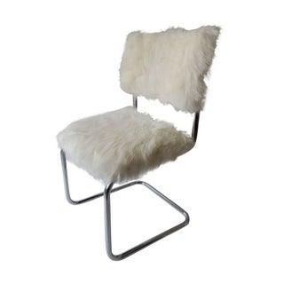 Marcel Breuer Cesca Style Chair in Faux Fur
