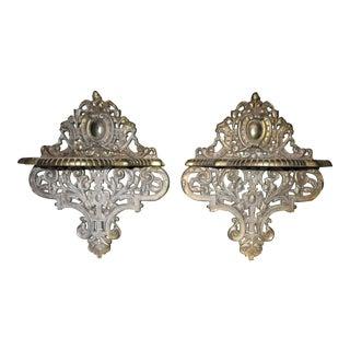 Renaissance Revival Style Metal Brackets - A Pair
