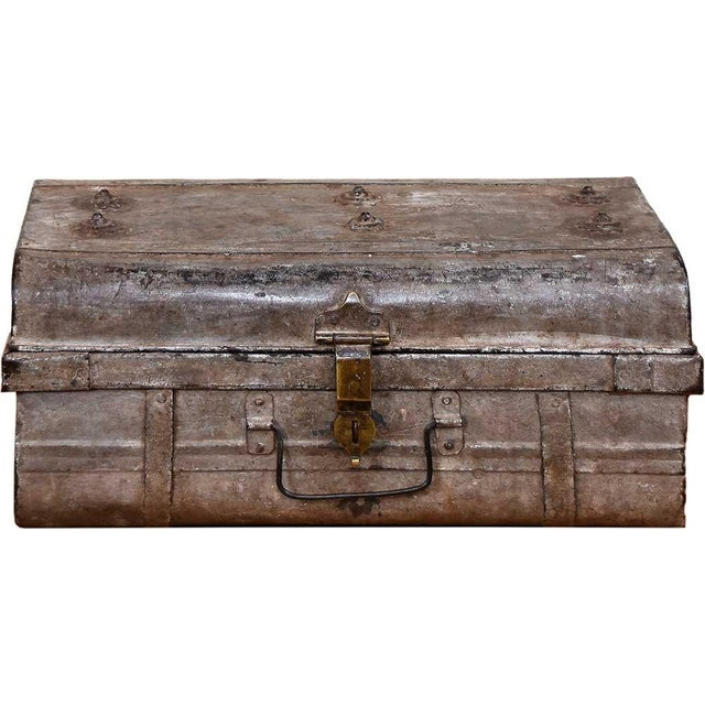 1950s Blushed Gray Iron Traveler's Trunk - Image 2 of 5