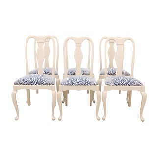 Queen Anne Style Leopard Chairs, S/6