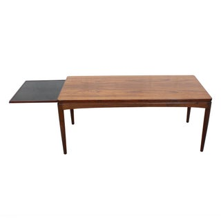 Danish Modern Rosewood Coffee Table With Pull Out Shelf