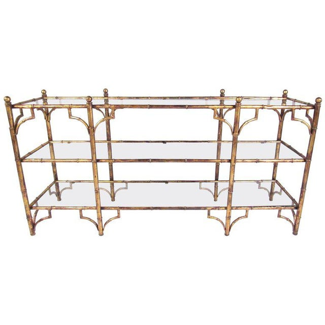 Faux Bamboo Gilt Console Table - Image 1 of 7