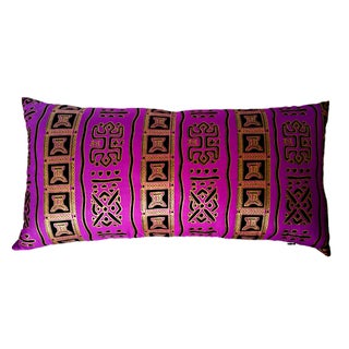 Purple Gold African Print Fabric Lumbar Pillow