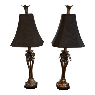 Black Damask and Brass Lamps - A Pair