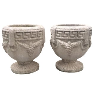 1940s Grecian Cement Planters - A Pair