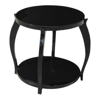 Monumental French Art Deco Ebonized Two-Tier Side Table Or Accent Table Circa 1940s