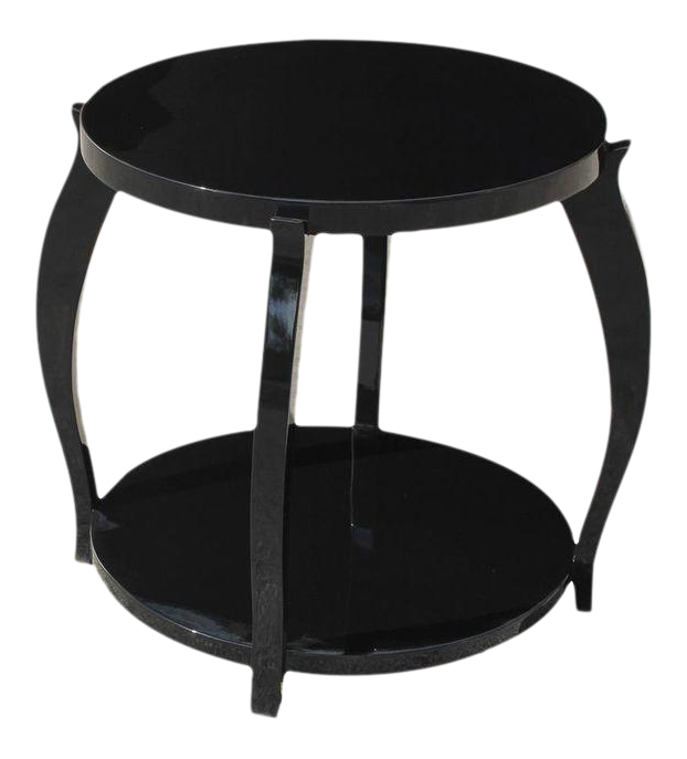 Monumental French Art Deco Ebonized Two Tier Side Table Or Accent Table  Circa 1940s