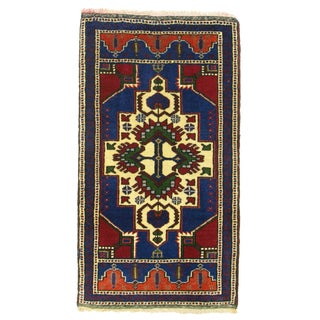 "Vintage Cobalt & Red Kurdish Carpet - 1'10"" x 3'4"""