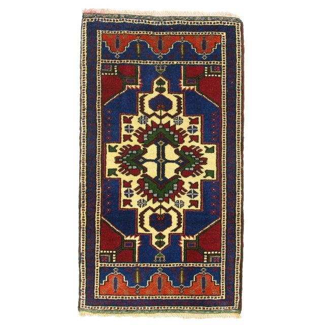 "Vintage Cobalt & Red Kurdish Carpet - 1'10"" x 3'4"" - Image 1 of 2"