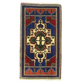 "Vintage Cobalt & Red Kurdish Carpet - 1'10"" x 3'4"""