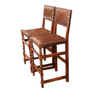 19th Century French Louis XIII Walnut Bar Stools - A Pair